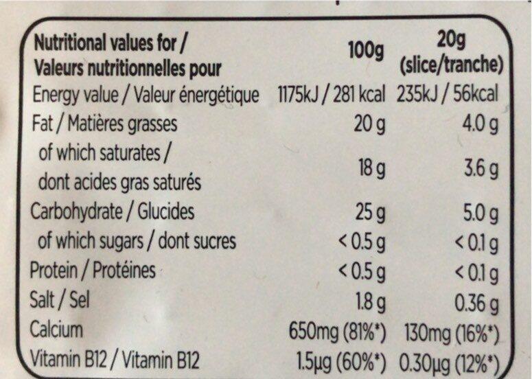 Nurishh - Tranches Végétales saveur Cheddar - Valori nutrizionali - fr