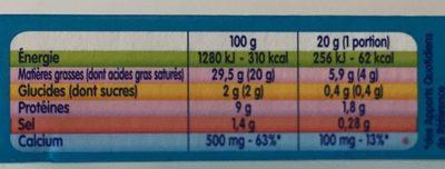 Kiri à la crème de lait (8 Portions) - Voedingswaarden