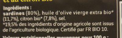 Sardines huile olive extra et citron bio - Ingrédients - fr