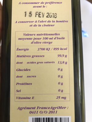 Huile d'olive vierge extra de France - Nutrition facts