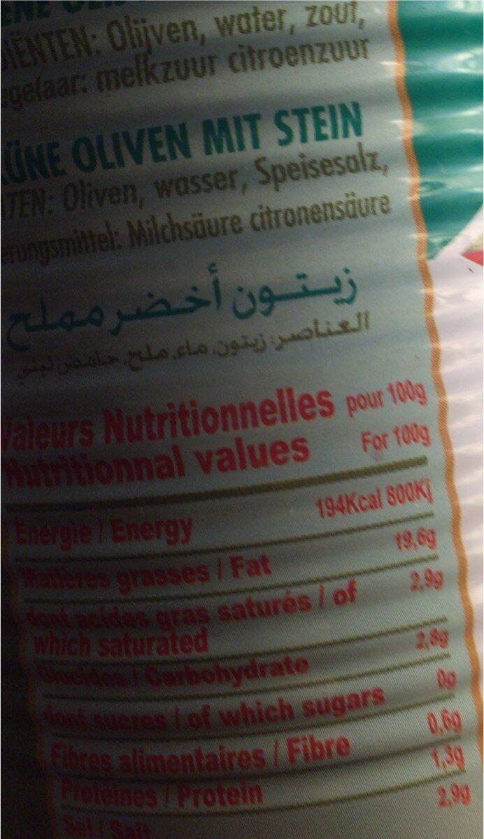 Olives verts - Nutrition facts - fr