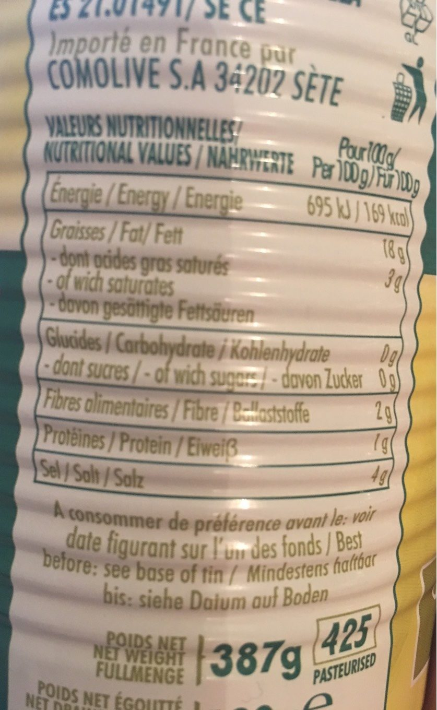 Olives Vertes Dénoyautées Crespo - Voedingswaarden - fr