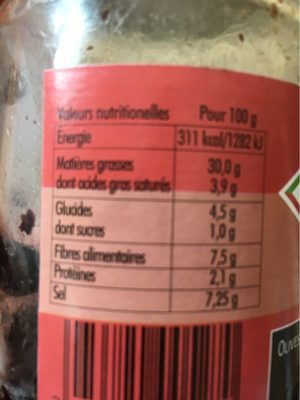 Olives noires à la grecque dénoyautées - Informations nutritionnelles