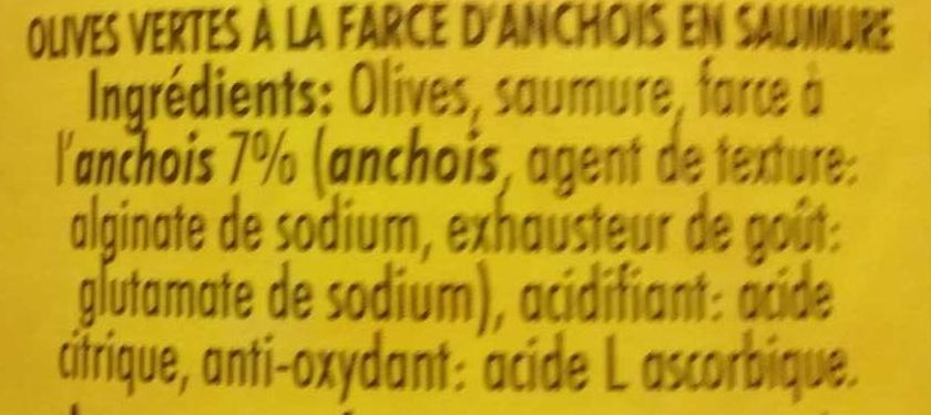 Olives Vertes à la farce d'anchois - Ingredients - fr