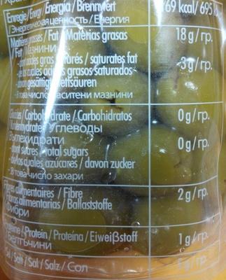 Olives vertes denoyautées - Nutrition facts