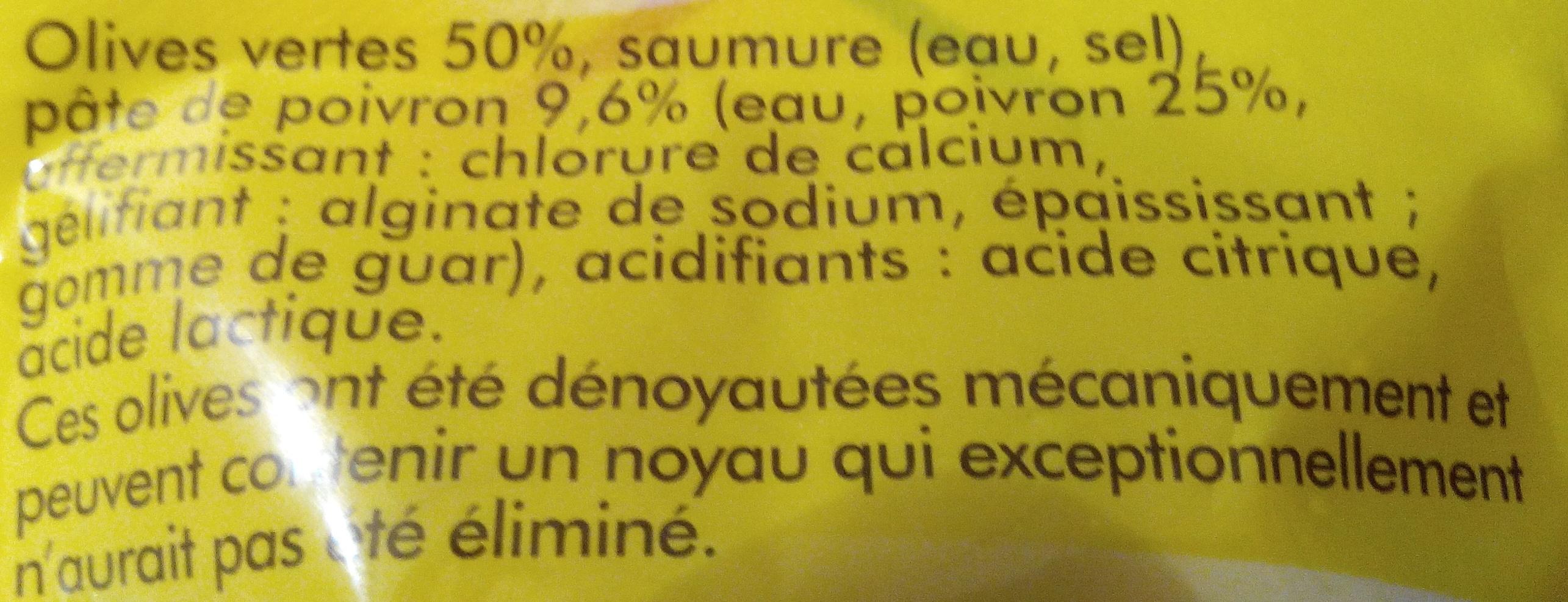Olives vertes farcies à la pâte de poivron - Ingredients - fr