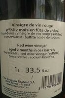 Vinaigre de vin rouge - Nutrition facts - fr