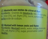moutarde citron et thym - Ingredients