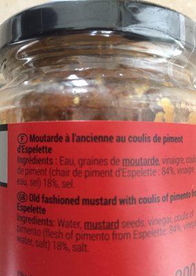 Moutarde Clovis au piment d'espelette - Ingredients