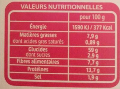 Céréales Faciles Recette Provençale - Nutrition facts