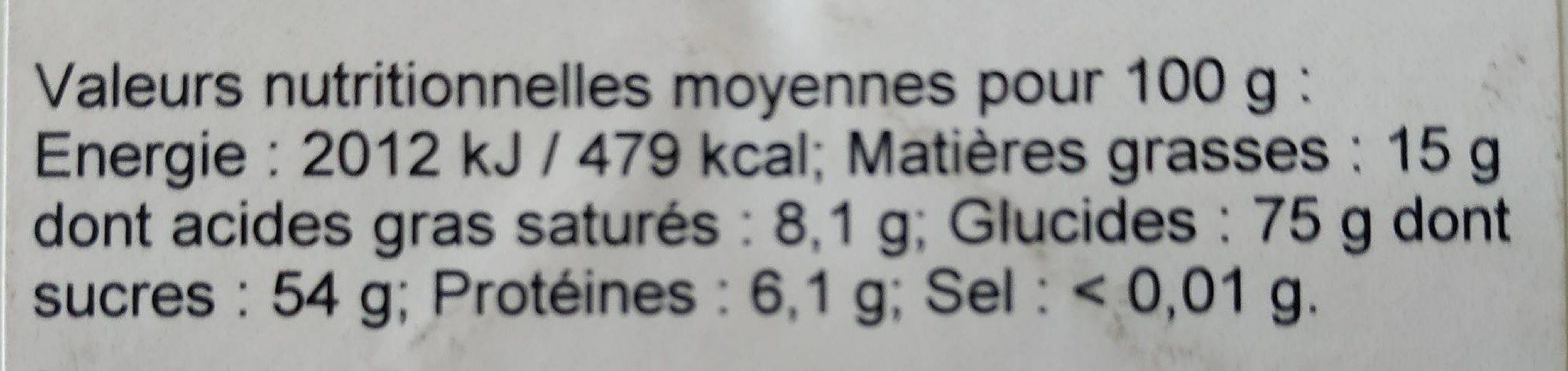 Dragées - Informations nutritionnelles - fr