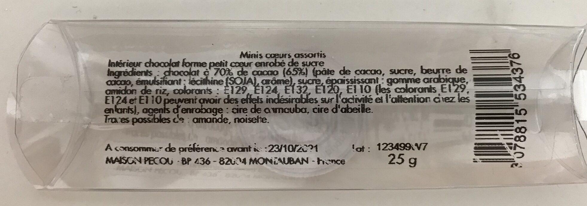 Minis cœurs assortis - Ingrediënten