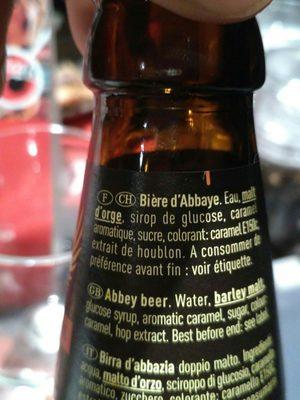 Cerveza Grimbergen Double-ambree 6'5% 33CL - Ingredients
