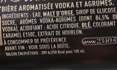 Bière aromatisée - Informations nutritionnelles