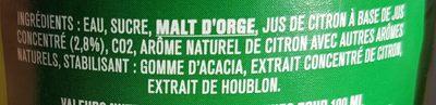 Tourtel twist au jus citron - Ingrédients - fr