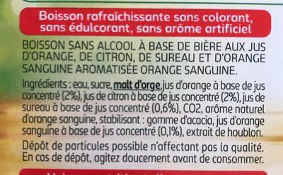 Tourtel - 27,5cl tourtel twist ora sanguine - 0.00 degre alcool - Ingrédients - fr