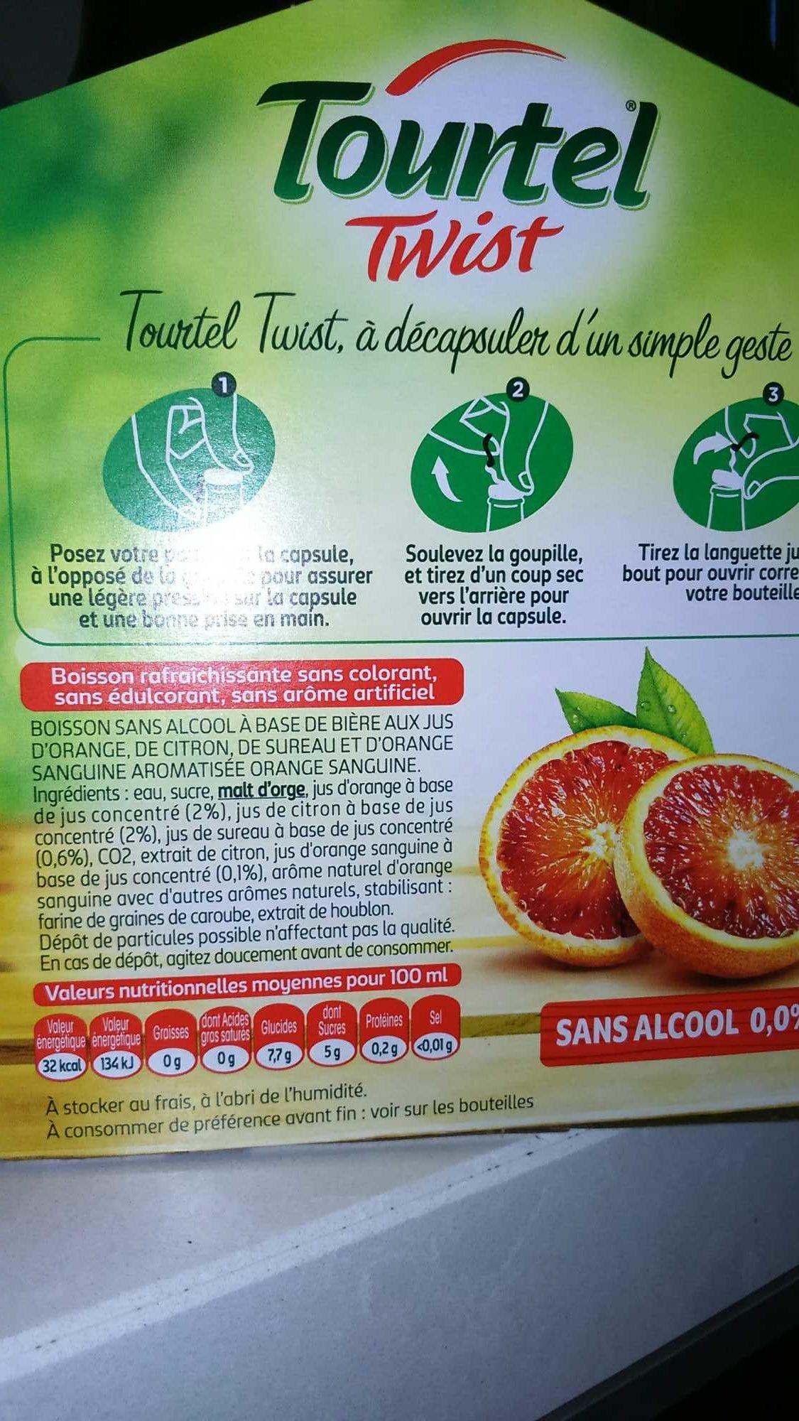 Tourtel - 6x27,5cl tourtel twist ora sanguine - 0.00 degre alcool - Produit - fr