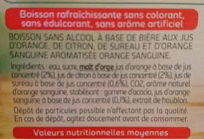 Tourtel - 6x27,5cl tourtel twist ora sanguine - 0.00 degre alcool - Ingrédients - fr