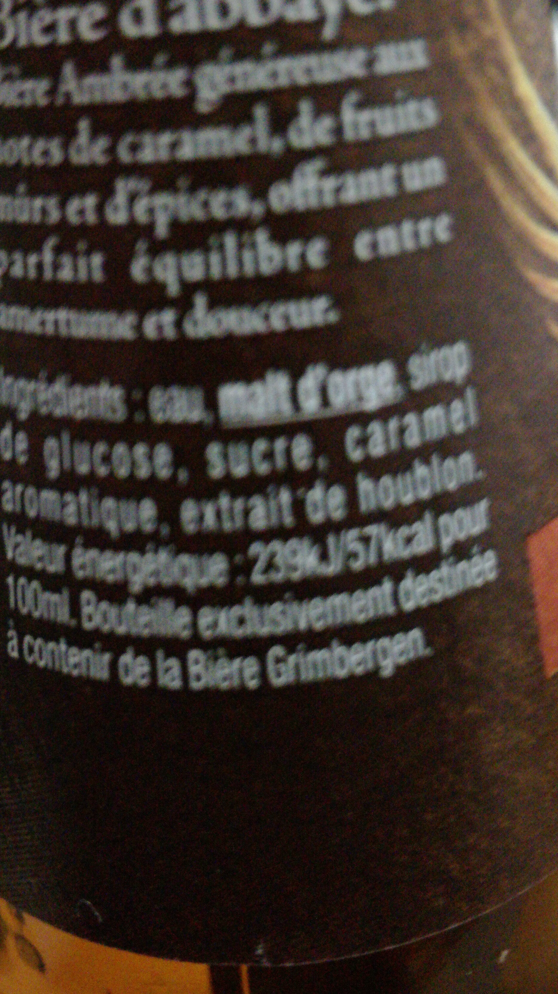 Grimbergen - 25cl grimbergen ambree - 6.50 degre alcool - Ingredients - fr