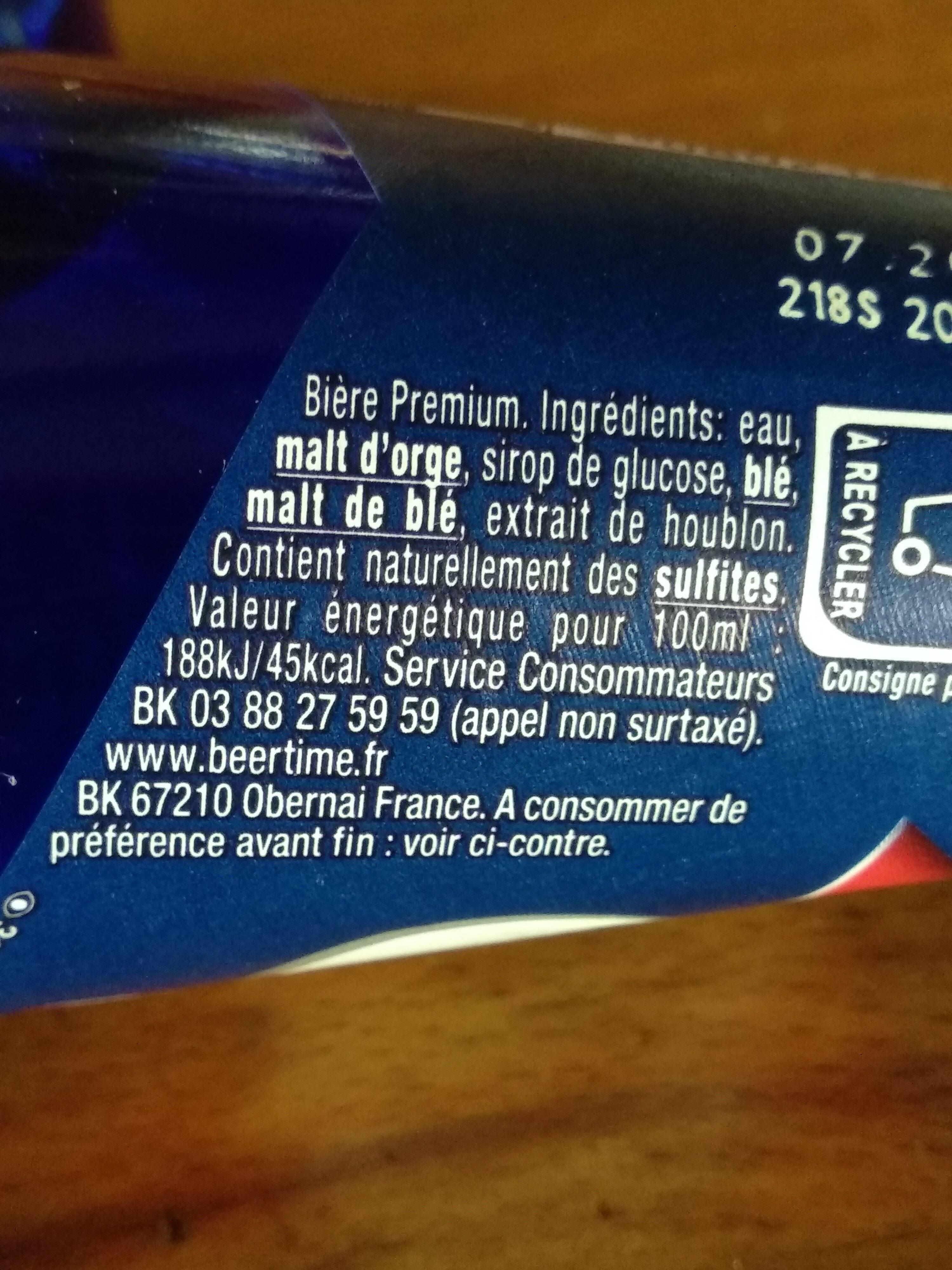 1664 - 25cl 1664 - 5.50 degre alcool - Ingrediënten - fr
