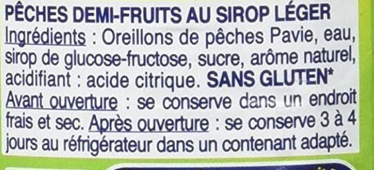 Pêches avec jus naturel - Ingrediënten - fr