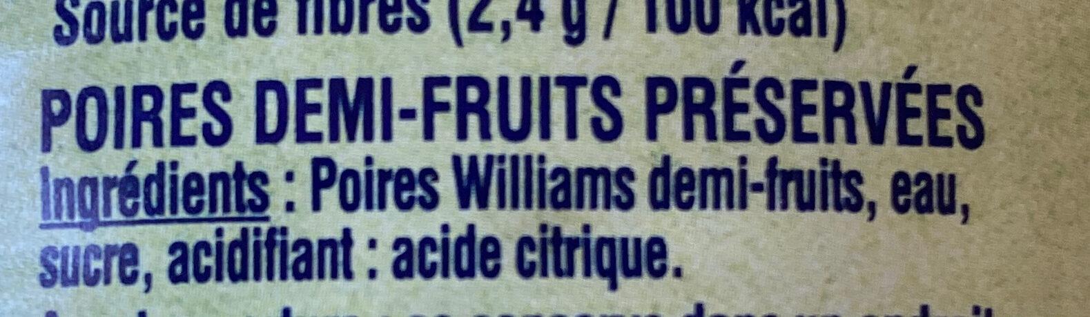 Poires Williams - Ingrédients - fr