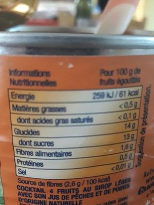 Cocktail de fruits - Nutrition facts