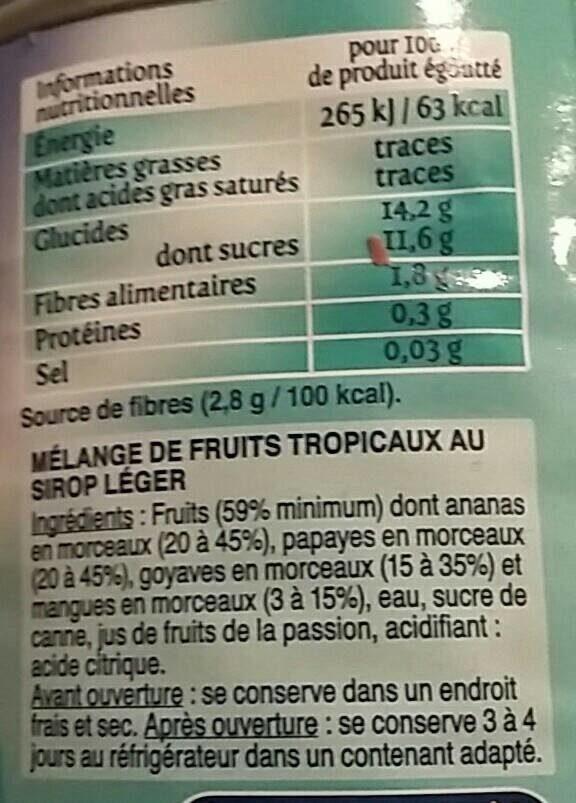 BTE 4 / 4 COUPE FRUITS EXOTIQUES SAINT MAMET - Informations nutritionnelles