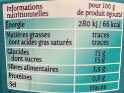 Lychees dénoyautés - Valori nutrizionali - fr