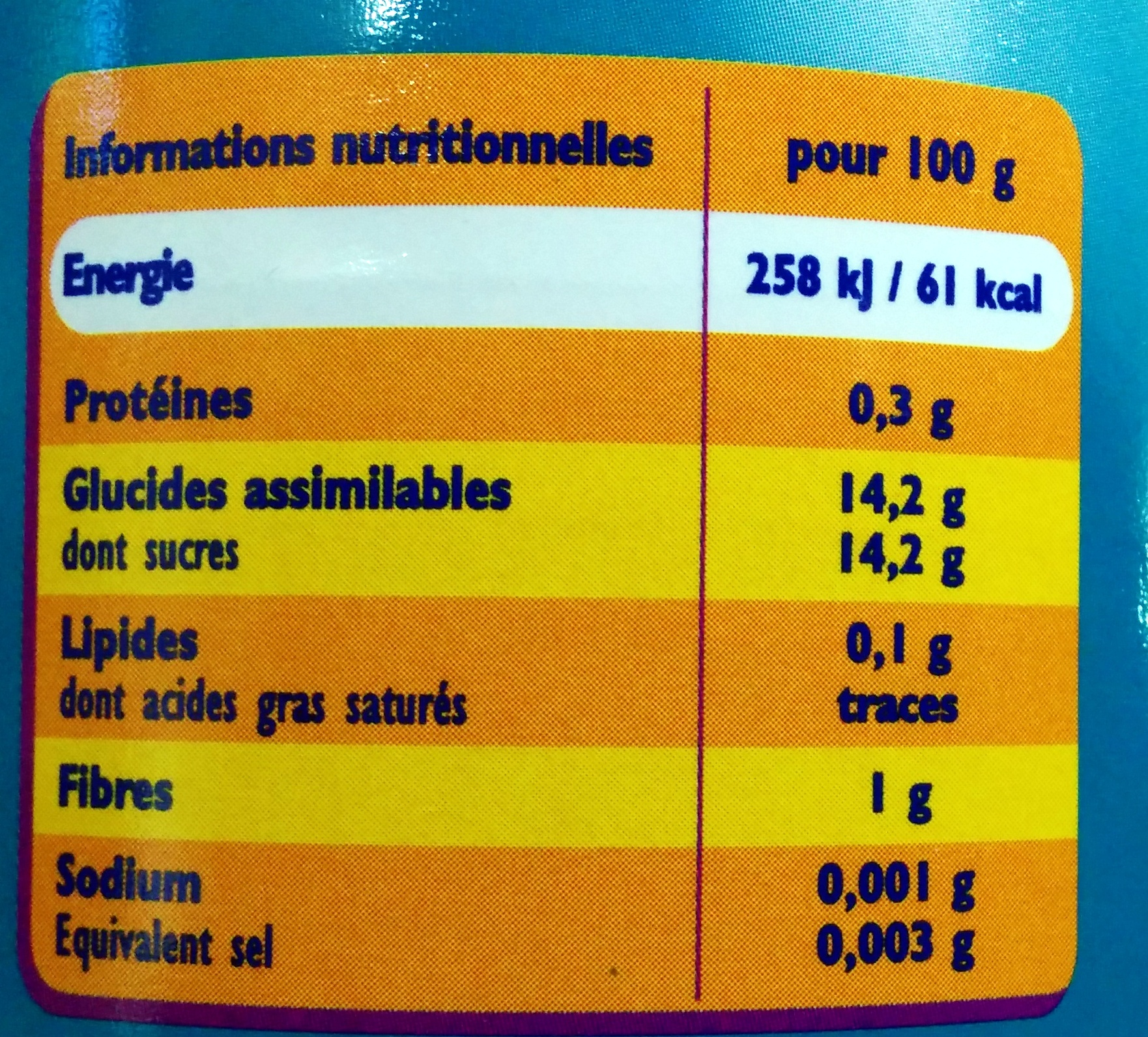 Ananas morceaux - Nutrition facts