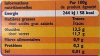Fruitesse - Informations nutritionnelles - fr