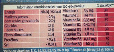Fruit To Go - Les Fruits du Paradis - Voedingswaarden - fr