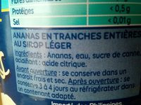 Grand Ananas Tranches Sans sucres ajoutés - 原材料 - fr