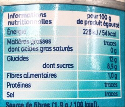 Grand Ananas Tranches Sans sucres ajoutés - 栄養成分表 - fr