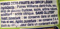 Poires william's au sirop SAINT MAMET - Ingrédients