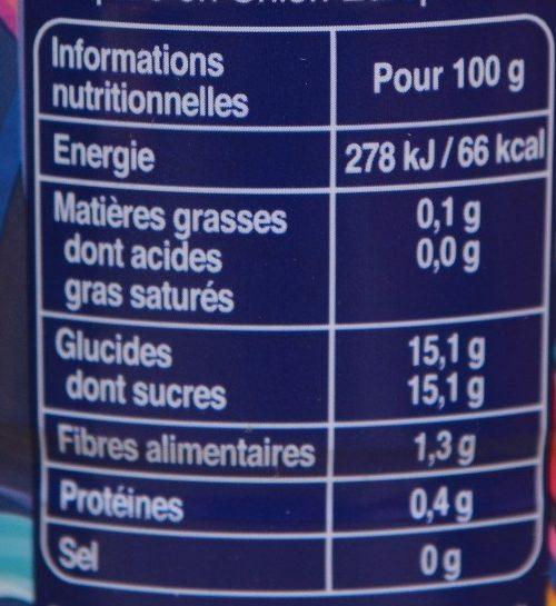 Ze compot - Informations nutritionnelles