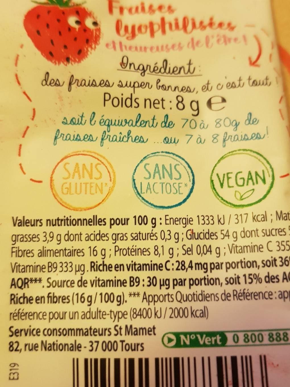Envie de fruit - Informations nutritionnelles