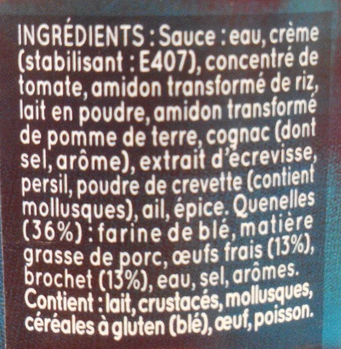 Quenelles de Brochet, Sauce Nantua - Ingrediënten