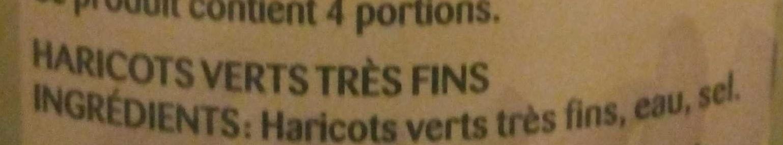 Haricots Verts Très Fins - Ingrédients - fr