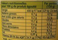 Lentilles cuisinées - Valori nutrizionali - fr