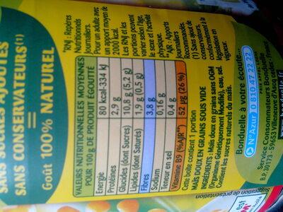 Maïs - Ingrédients