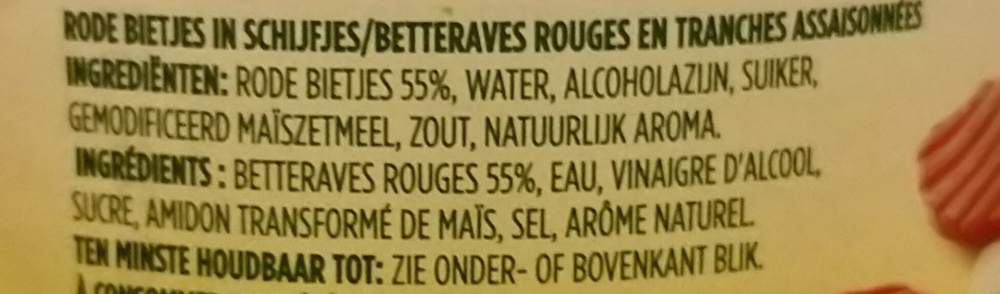 rode bietjes, schijfjes - Ingredients - nl