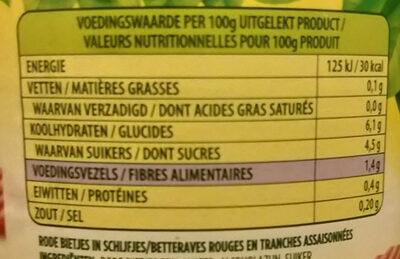 rode bietjes, schijfjes - Nutrition facts - nl