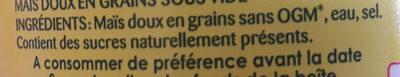 Maïs sans sucres ajoutés - Ingredients - fr