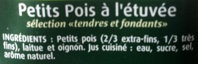 Petits Pois sélection 'tendres et fondants' - Ingrédients - fr