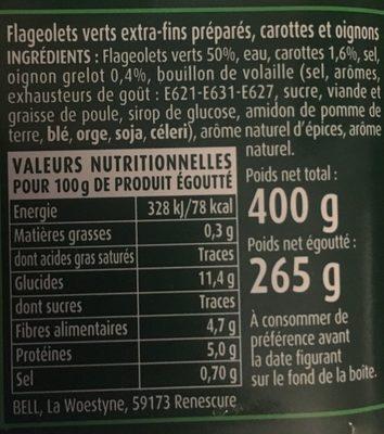 """Flageolets cuisinés - sélection """"extra-fondants"""" - Informations nutritionnelles"""
