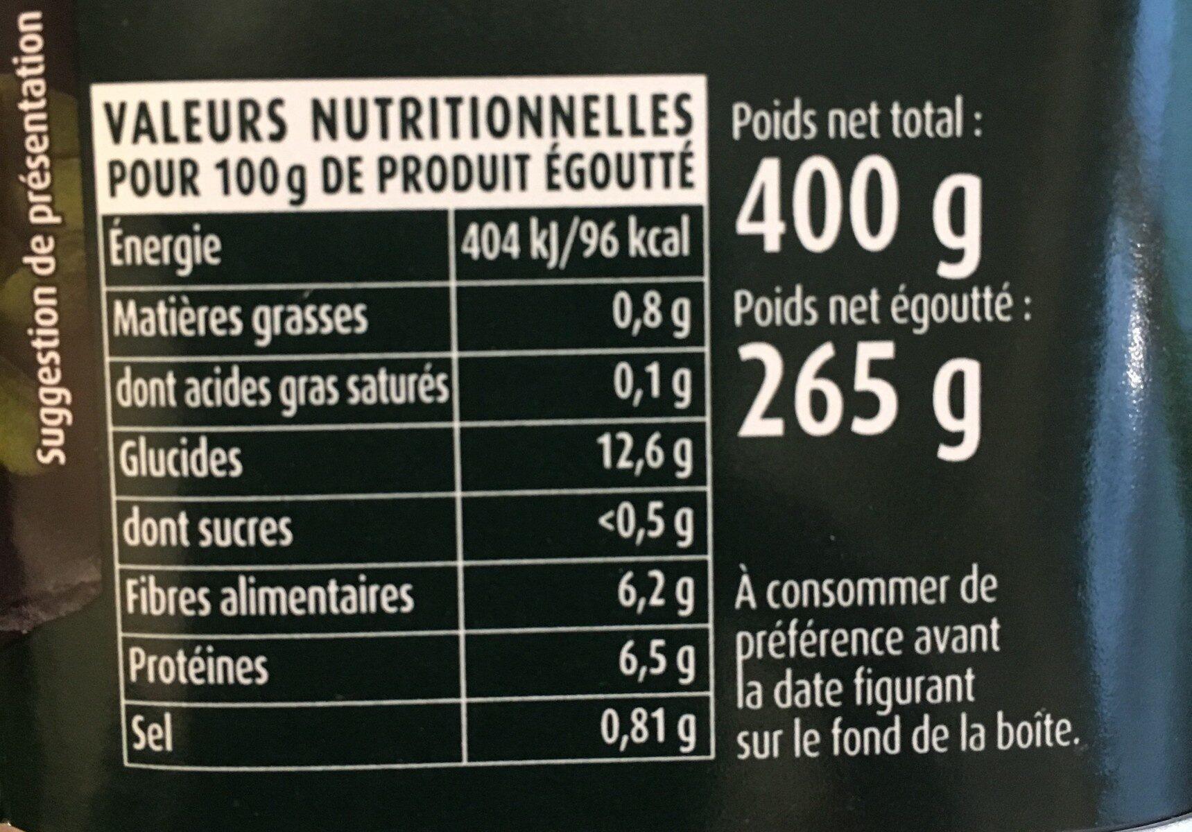 Flageolets cuisinés - sélection extra-fondants - Valori nutrizionali - fr