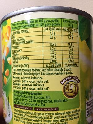 Bondu Kukurydza Z?ocista 400Ml - Výživové údaje - cs