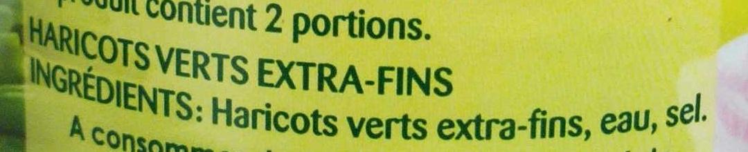 Haricots Verts extra-fins & rangés - Ingrédients