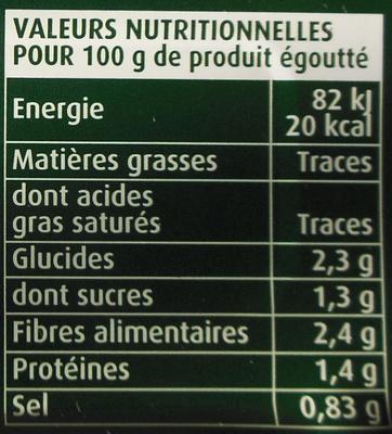 Haricots Verts extra-fins - 110 g - Cassegrain - Voedingswaarden - fr